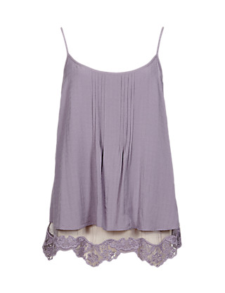 Tiered Floral Lace Trim Camisole Top Clothing