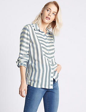 Modal Blend Striped Long Sleeve Shirt