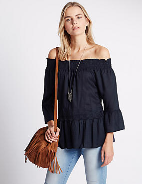 Loose Fit Pure Modal Cold Shoulder Top