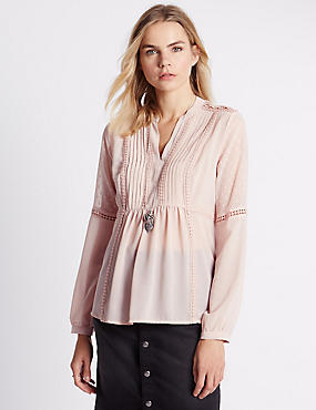 Tailored Fit Pintuck Dobby Blouse with Buttonsafe™