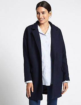 Wool Blend One Button Coat