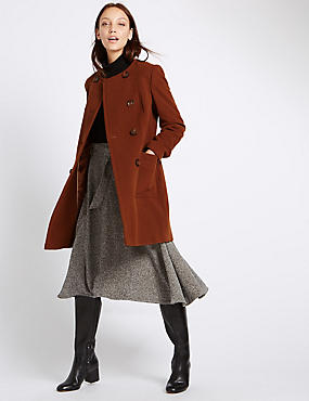 Double Breasted Collarless Coat