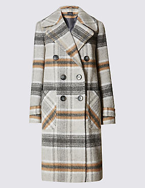 Collared Neck Overcoat with Wool