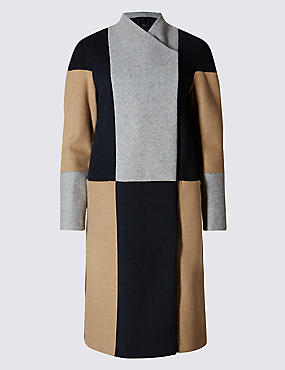 Colour Block Blanket Coat with Stormwear™
