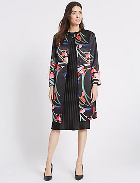 Abstract Floral Print Coat