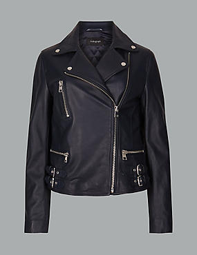Leather Biker Jacket  , DARK NAVY, catlanding