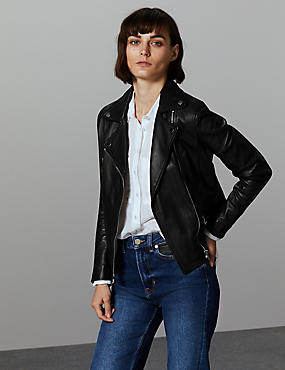 Leather Biker Jacket  , BLACK, catlanding