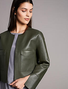Leather Reversible Open Front Cropped Jacket, MEDIUM KHAKI, catlanding