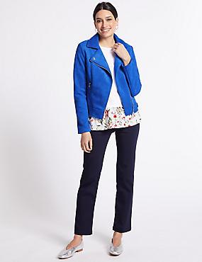 Cross Zip Biker Jacket, BLUE, catlanding