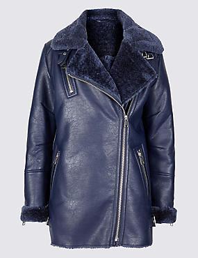 Faux Shearling Biker Jacket , NAVY, catlanding