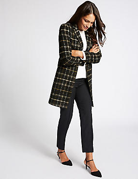 Checked Tweed Pocket Coat