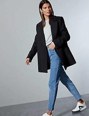 Wool Rich Double Breasted Peacoat  , NAVY, catlanding