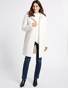 Boucle Hooded Coat
