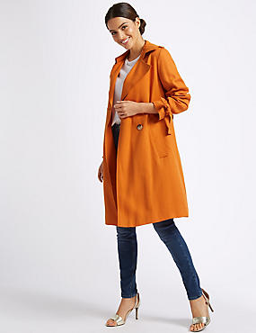 Double Breasted Trench Coat , PUMPKIN, catlanding