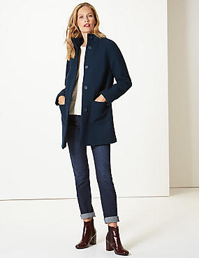 Wool Rich Funnel Neck Coat , NAVY, catlanding