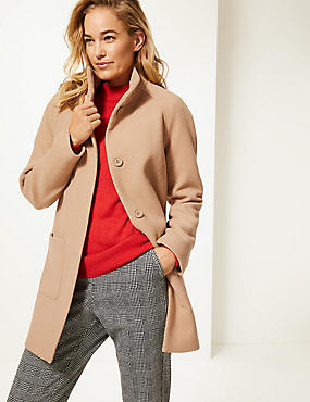 Wool Rich Funnel Neck Coat , CARAMEL, catlanding
