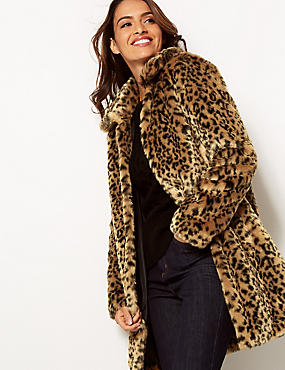 Animal Print Faux Fur Coat, BROWN MIX, catlanding
