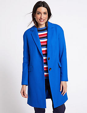 Textured Coat, BRIGHT BLUE, catlanding