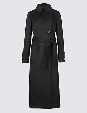 Patch Pocket Trench Coat with Belt