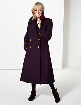 Wool Blend Double Breasted Duster Coat , PLUM, catlanding