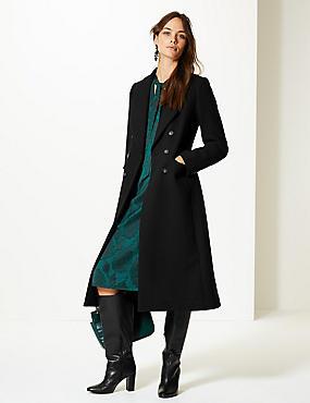 Wool Blend Double Breasted Coat , BLACK, catlanding