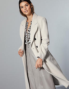 Wool Blend Double Breasted Coat , LIGHT PUTTY, catlanding