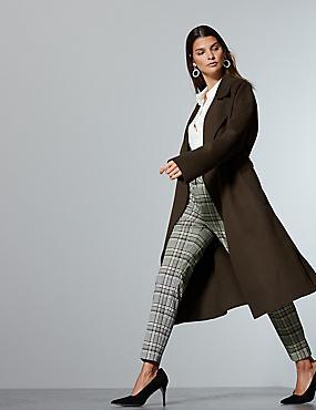 Wool Rich Textured Wrap Coat , COCOA, catlanding