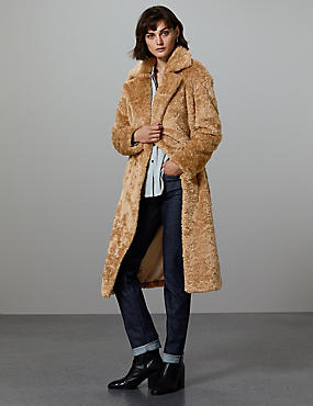 Longline Faux Fur Teddy Bear Coat, GOLDEN TAN, catlanding