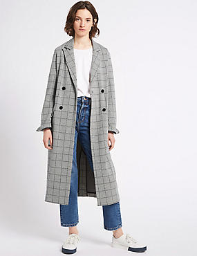 Cotton Blend Checked Duster Coat , GREY MIX, catlanding