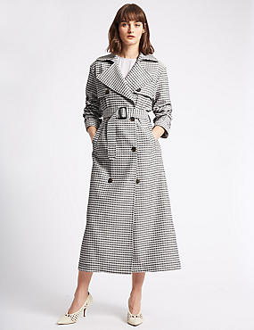 Gingham Trench Coat, LILAC MIX, catlanding