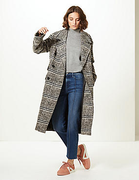 Wool Blend Checked Coat , BLACK MIX, catlanding