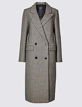 Checked Longline Coat , BROWN MIX, catlanding
