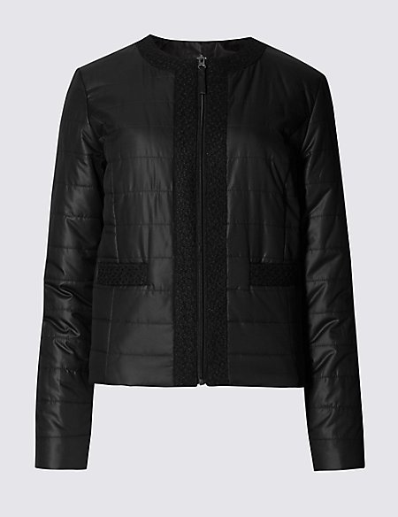 Quilted Collarless Jacket with Stormwear™