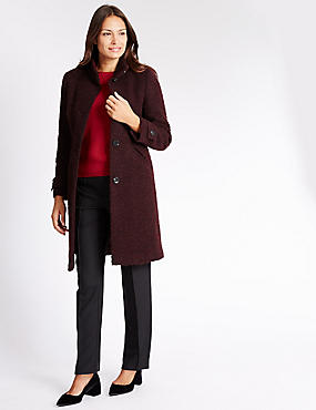 Wool Blend Boucle Overcoat