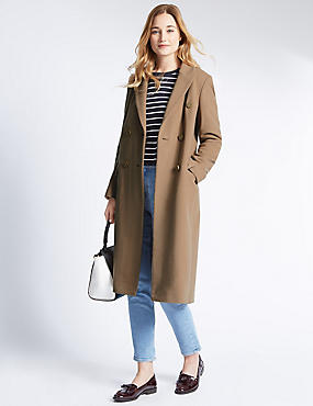 Wool Blend Double Breasted Overcoat