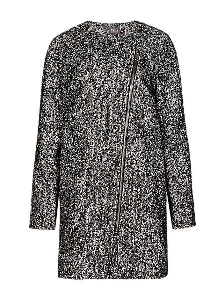 Oversized Textured Tweed Cocoon Coat with Wool