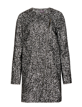 Oversized Textured Tweed Cocoon Coat with Wool Clothing