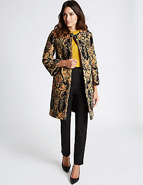 Cotton Rich Jacquard Print Coat