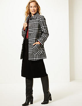 Wool Blend Checked Peacoat , BLACK MIX, catlanding