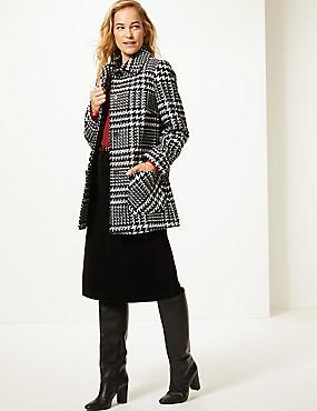 Wool Blend Checked Peacoat , BLACK MIX, catlanding