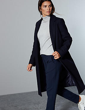 Wool Rich Single Breasted Coat with Cashmere, NAVY, catlanding