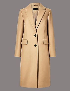 Wool Rich Single Breasted Coat with Cashmere, CAMEL, catlanding