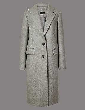 Wool Rich Single Breasted Coat with Cashmere, GREY, catlanding