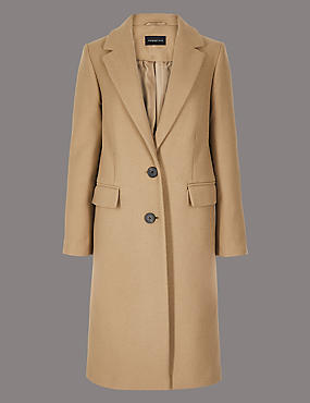 PETITE Single Breasted Coat with Cashmere, CAMEL, catlanding