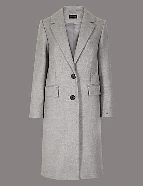 PETITE Single Breasted Coat with Cashmere, GREY, catlanding