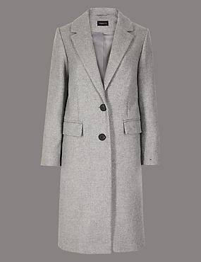 PETITE Textured Single Breasted Coat, GREY, catlanding