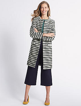 Cotton Blend Jacquard Coat , MULTI, catlanding