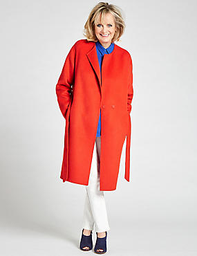 Wool Blend Belted Coat, RED, catlanding