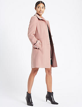 Waist Stitch Detail Coat, DUSTY PINK, catlanding