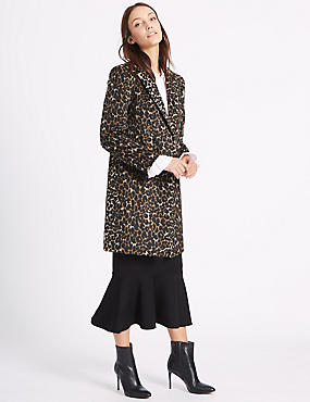 2 Pocket Animal Print Coat